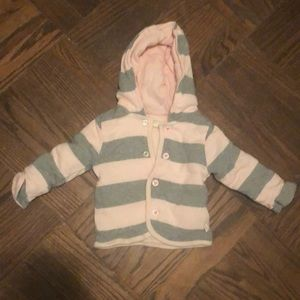 0-3 mo Burt's Bees gray and pink striped sweater